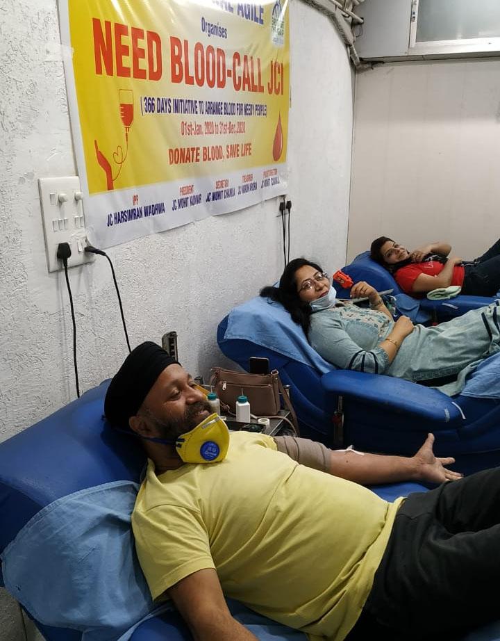 जेसीआई करनाल एजाइल ने लगाया दो दिवसीय रक्तदान शिविर