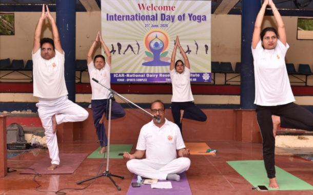 एनडीआरआई में छात्र-छात्राओं ने किया योग