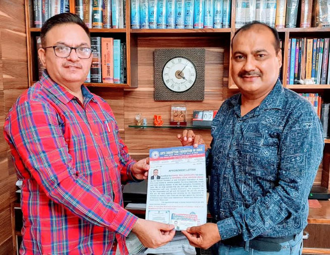राहुल बाली एंटी करप्शन फाउंडेशन ऑफ इंडिया के राष्ट्रीय लीगल एडवाइजर नियुक्त, राष्ट्रीय अध्यक्ष नरेंद्र अरोड़ा ने की नियुक्ति