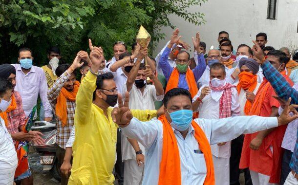 अयोध्या में श्रीराम जन्मभूमि पर भव्य राम मंदिर का शिलान्यास होने की खुशी में ऊना भाजपा ने मनायाजश्न